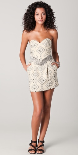 Parker Aztec Strapless Dress