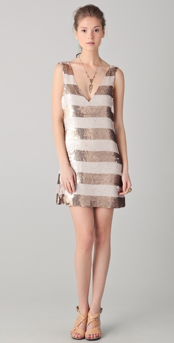 Parker Wide Striped Sequin V Neck Dress