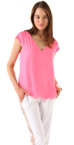 Parker V Neck Zip Shoulder Top