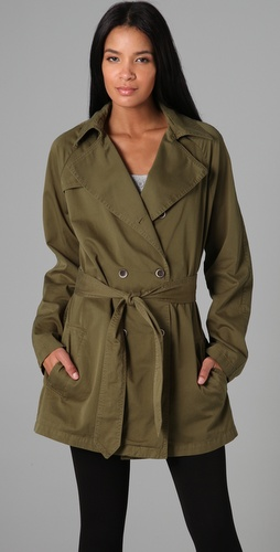 PJK Patterson J. Kincaid Twill Mid Length Trench Coat