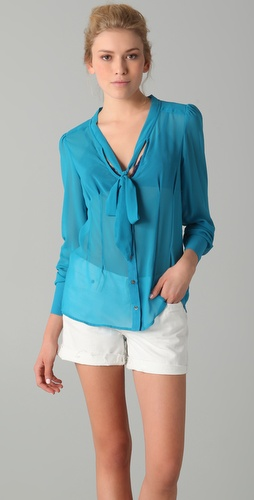 PJK Patterson J. Kincaid Freesia Tie Neck Blouse