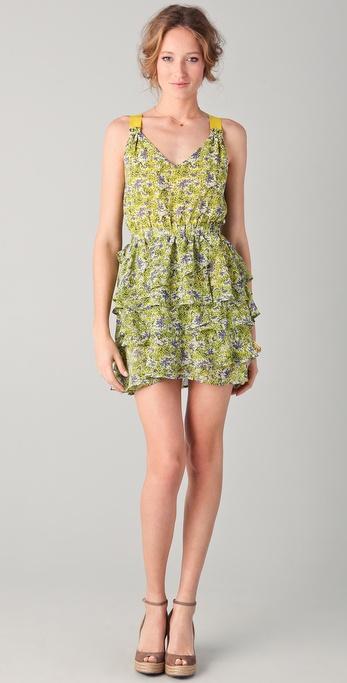 PJK Patterson J. Kincaid Gardenia Ruffle Dress