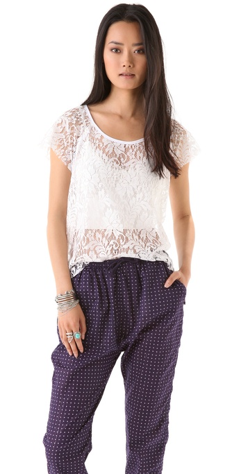 PJK Patterson J. Kincaid Cook Slouch Lace Tee