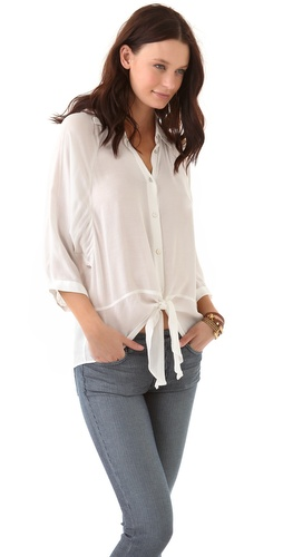 PJK Patterson J. Kincaid Shadow Tie Blouse