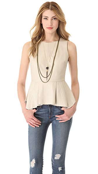 PJK Patterson J. Kincaid Erin Pleated Leather Shell Top