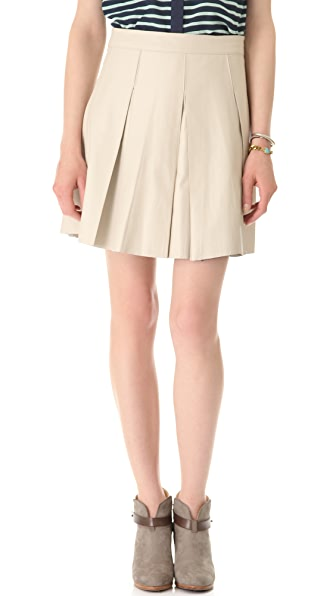 PJK Patterson J. Kincaid Pleated Leather Miniskirt