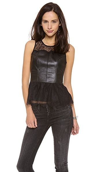PJK Patterson J. Kincaid Lace and Lace Peplum Bien Tank