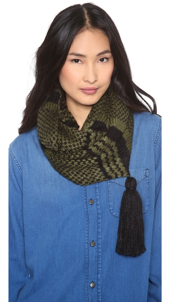 Paula Bianco Striped Tassel Scarf