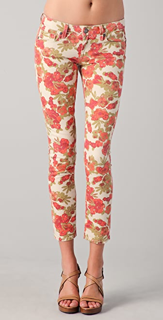 Paige Denim Floral Ankle Peg Skinny Jeans