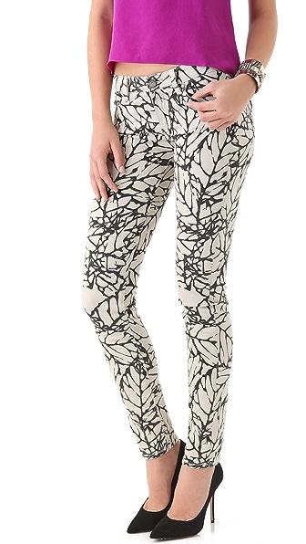 Paige Denim Leaf Print Skyline Skinny Jeans