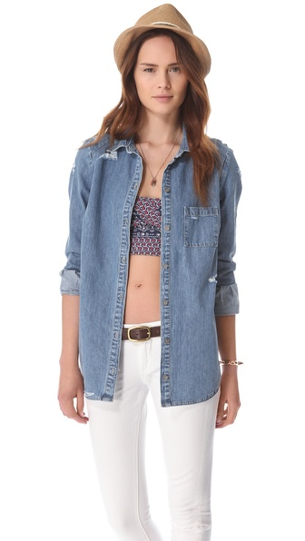 Paige Denim Eden Deconstructed Denim Shirt