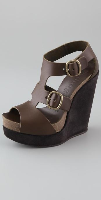Pedro Garcia Cherise T Strap Wedge Sandals
