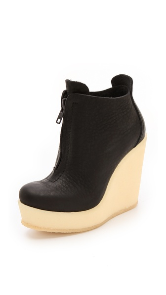 Pedro Garcia Fedora Crepe Wedge Booties