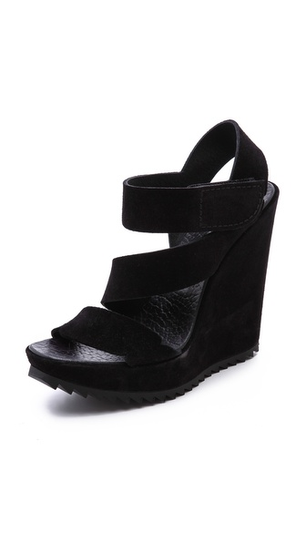 Pedro Garcia Veronica Wedge Sandals - Black