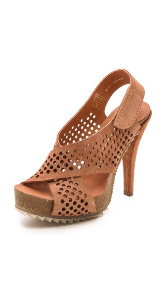 Pedro Garcia Caitlyn Perforated Sandals - Adobe