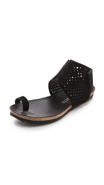 Pedro Garcia Venus Perforated Toe Ring Sandals - Black