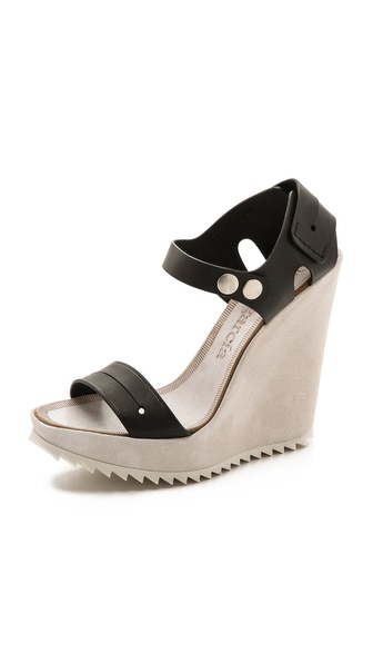 Pedro Garcia Viviana Wedge Sandals - Black