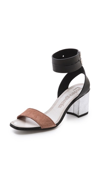 Pedro Garcia Xola Ankle Strap Sandals - Black/Adobe