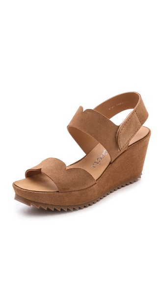 Pedro Garcia Filippa Low Wedge Sandals - Tan
