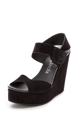 Pedro Garcia Tilda Wedge Sandals - Black