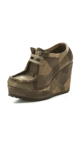 Pedro Garcia Karen Lace Up Wedge Booties - Olive Camo