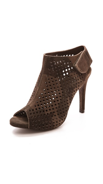 Pedro Garcia Sofia Perforated Open Toe Booties - Olive Camo