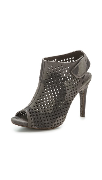 Pedro Garcia Sofia Perforated Open Toe Booties - Gunmetal Camo