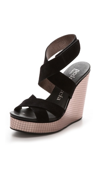 Pedro Garcia Theresa Mirror Wedge Platform Sandals - Black/Pewter