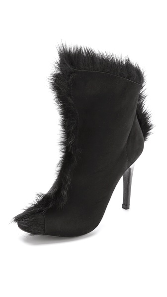 Pedro Garcia Saskya Open Toe Fur Booties - Black