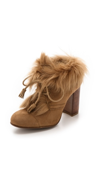 Pedro Garcia Barbara Fur Lace Up Booties - Tan