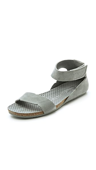 Pedro Garcia Jennifer Suede Flat Sandals - Mist