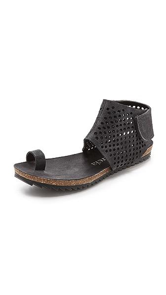 Pedro Garcia Venus Suede Toe Ring Sandals - Coal
