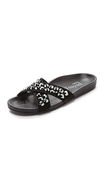 Pedro Garcia Analis Suede Embellished Slides - Black