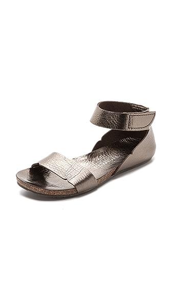 Pedro Garcia Jennifer Ankle Flat Sandals - Pewter Cervo Lame