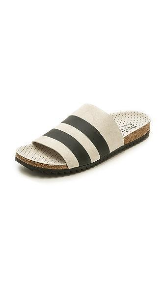 Pedro Garcia Aidan Stripe Footbed Slides - Stone