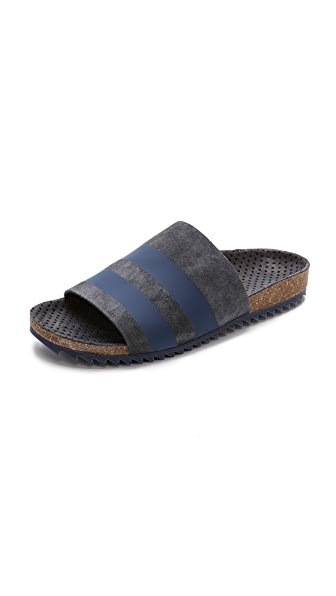 Pedro Garcia Aidan Stripe Footbed Slides - Coal/Blue