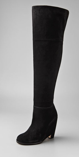 PHILOSOPHY DI ALBERTA FERRETTI Over the Knee Suede Boots on Cutout Wedge