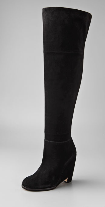 PHILOSOPHY Over the Knee Suede Boots on Cutout Wedge