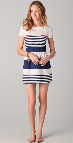 PHILOSOPHY DI ALBERTA FERRETTI Striped Dress with Pink Pockets