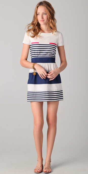 PHILOSOPHY Striped Dress with Pink Pockets