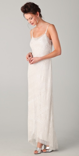 PHILOSOPHY DI ALBERTA FERRETTI Long Dress with All Over Glass Beading