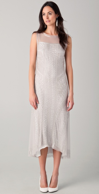 PHILOSOPHY Tea Length Dress with All Over Glass Beading