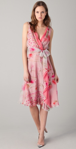 PHILOSOPHY DI ALBERTA FERRETTI Print Wrap Dress with Waist Tie