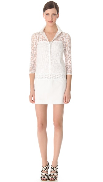 PHILOSOPHY Mixed Lace Shirtdress
