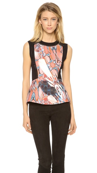 PHILOSOPHY Sleeveless Printed Peplum Top