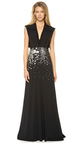 PHILOSOPHY Sleeveless Embroidered Gown
