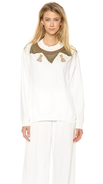 PHILOSOPHY Satin Embroidered Top