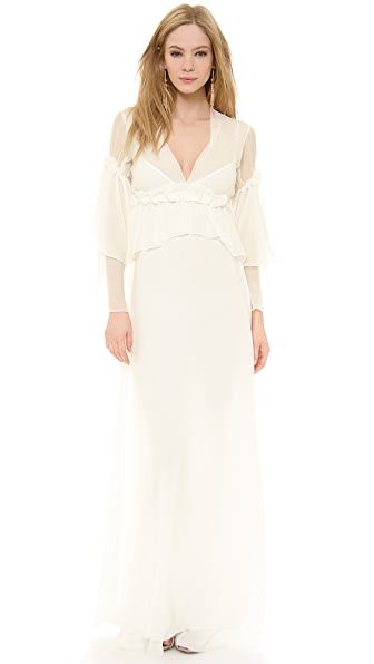 PHILOSOPHY Long Sleeve Chiffon Gown