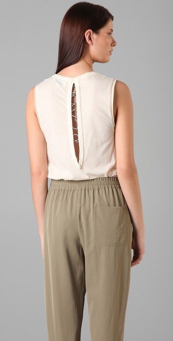 3.1 Phillip Lim Sleeveless Tee with Rhinestone Keyhole