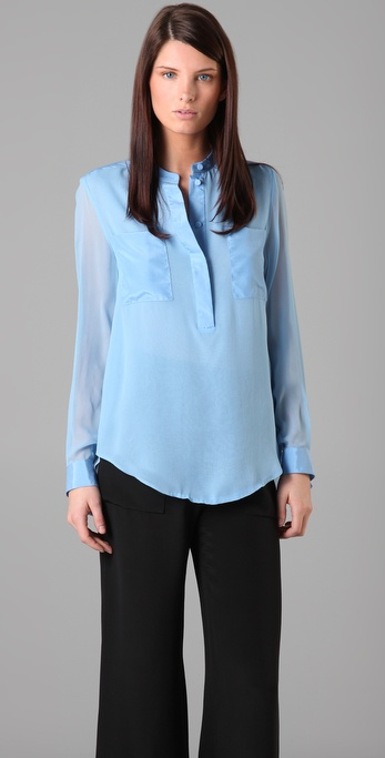 3.1 Phillip Lim Henley Blouse with Tassel Cuffs